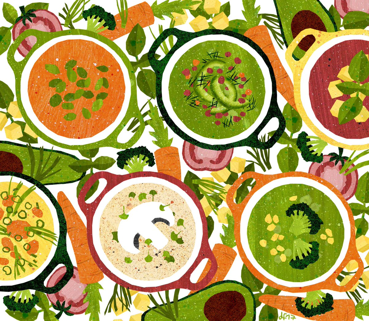 Anyone cold and up for soup? Avocado soup, carrot, broccoli, mushroom, whatever you like best! #colour_collective #illustration #food #avocado #mushrooms #carrots #veggie #broccoli #soups<br>http://pic.twitter.com/BbpIsmj7V1