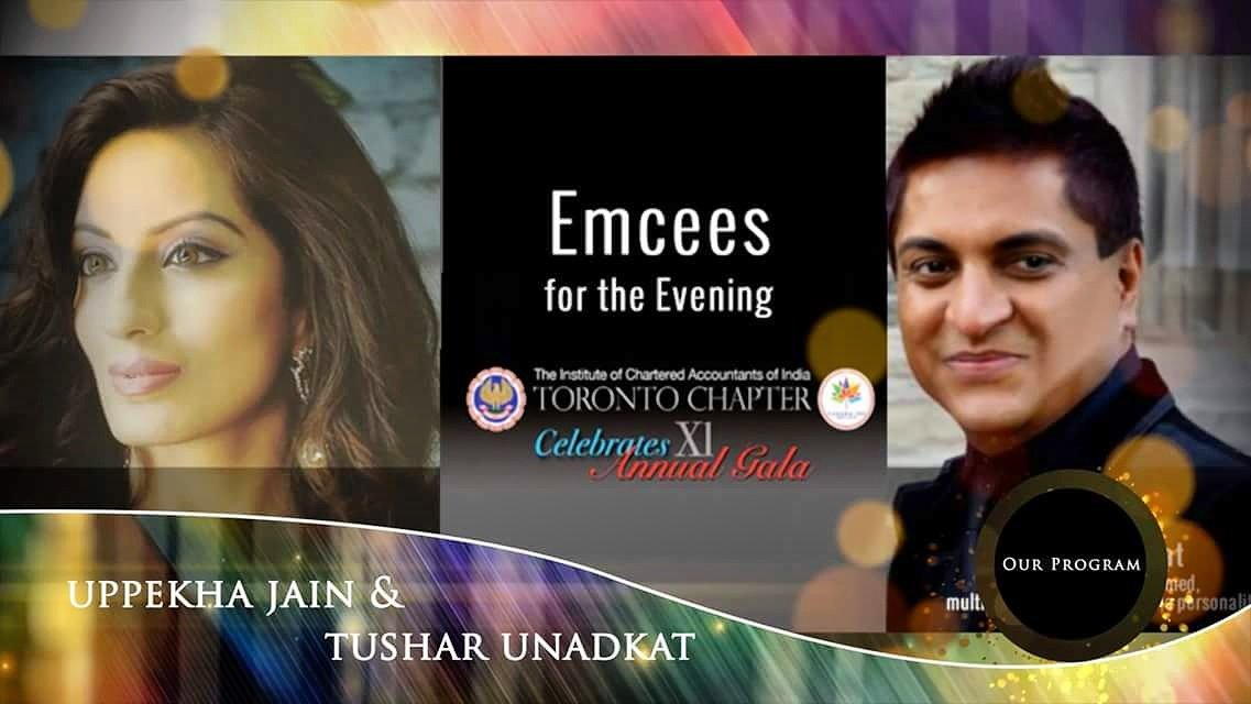 The Toronto Chapter of Institute of Chartered Accountants of India (ICAI) celebrates the 11th Annual #AwardsGala on Sat, Nov 18th at the #Universal #EventSpace  and the Master of Ceremonies are #Bollywood Actress/Model, former Miss India Worldwide, Uppekha Jain &amp; Tushar Unadkat<br>http://pic.twitter.com/ErYWabXSVV