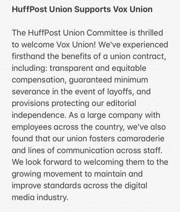 HuffPost's union is proud to welcome @vox_union to the @WGAEast!! You want in, too? Ask me how. #VoxUnion