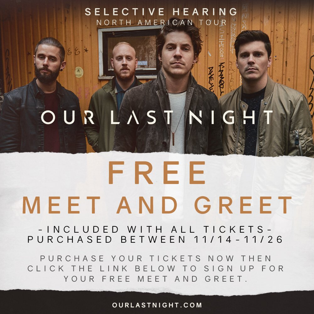 Our last night on twitter free meet and greet if you buy tickets our last night on twitter free meet and greet if you buy tickets this week buy tickets httpstcjdyurgzql then signup for mg at m4hsunfo