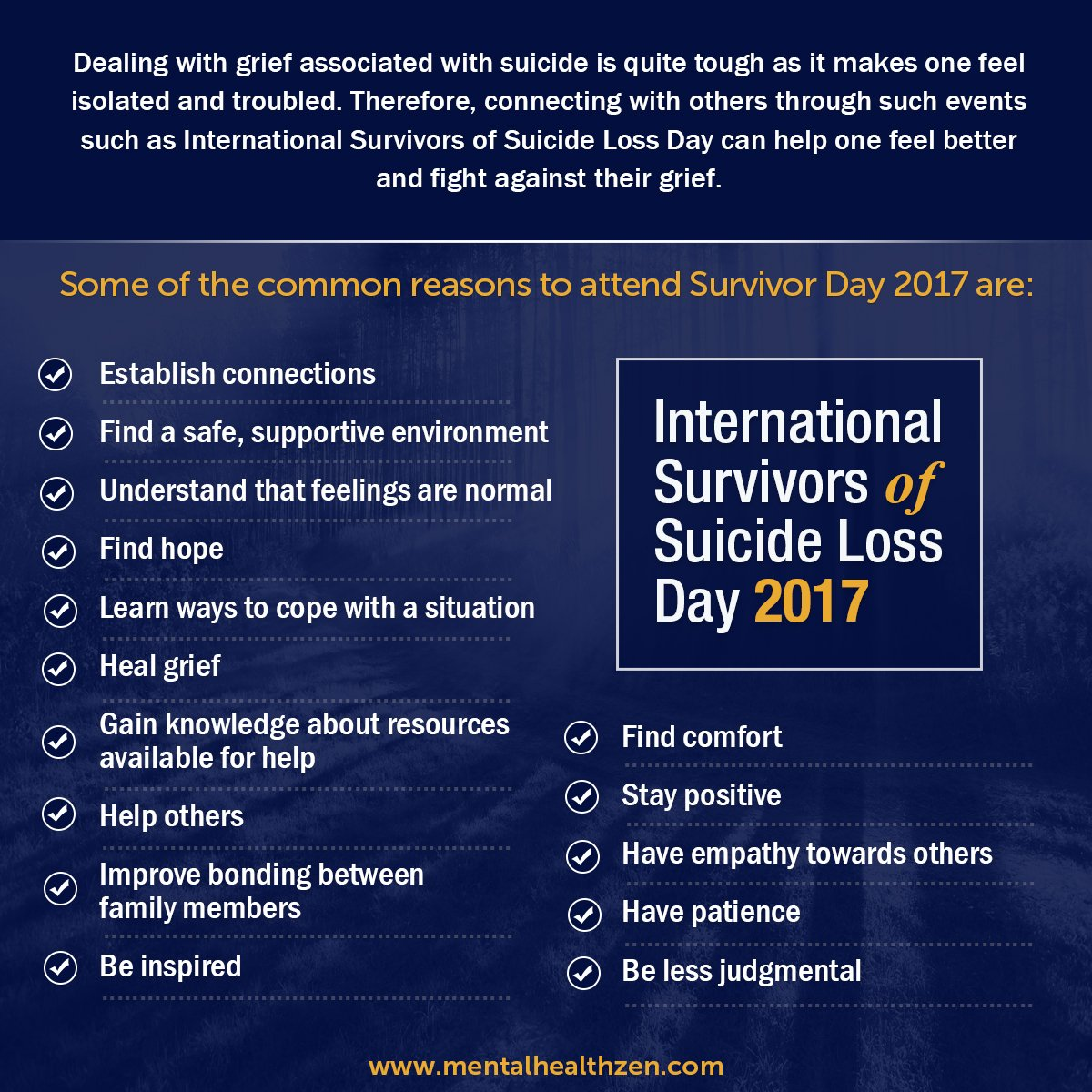 Some of the common reasons to attend #survivorday.    http:// bit.ly/2ipgqC4  &nbsp;    #FridayFeeling #Friyay #MentalHealth #SuicidePrevention @800273TALK @DrDeniseMD @ConquerWorry #Depression @TalkToMe #Quoteoftheday @TheMightySite #FlashbackFriday @talkspace #Anxiety @NAMIDekalb #Health<br>http://pic.twitter.com/KG0Va0GRxC