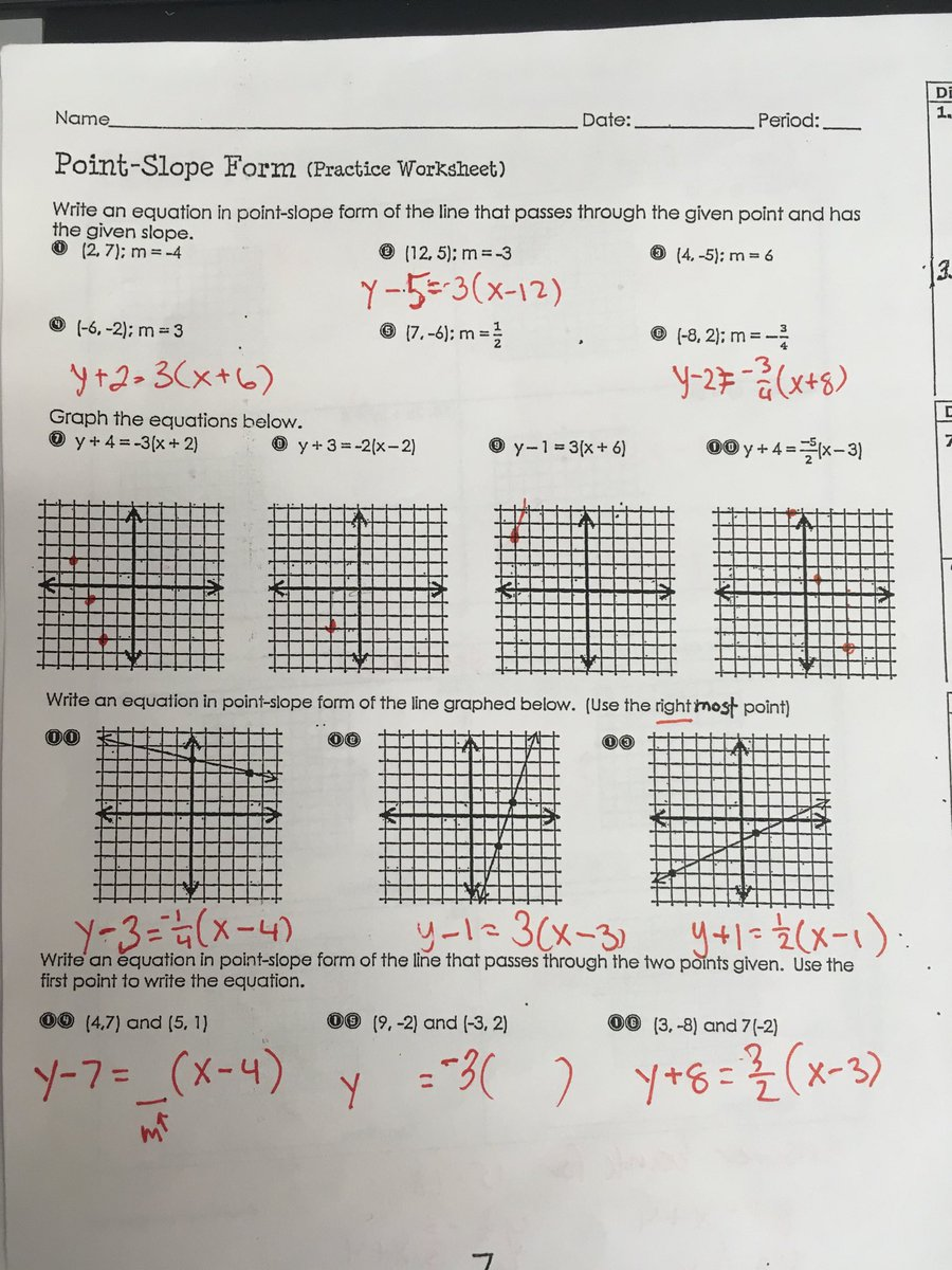 "point slope form practice worksheet answers  The Prappas Math on Twitter: ""Packet 12 p. 12 answers #algIB… """
