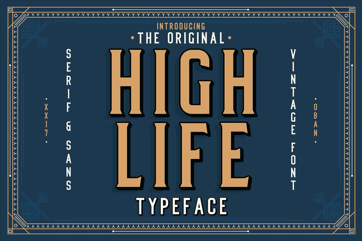 This week&#39;s #free font is High Life by @ObanJones. Hope you like #ArtDeco!  https:// buff.ly/2iqNQQE  &nbsp;   @HOWbrand @printmag<br>http://pic.twitter.com/F7jR9R9of5
