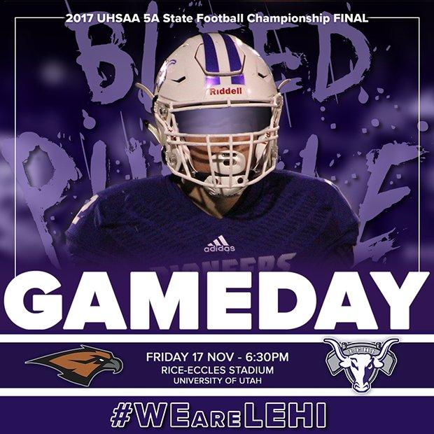 #GAMEDAY Tonight!  #Skyridge vs #LEHI  6:30pm  Rice-Eccles Stadium, University of Utah #PLAYOFFS #FINAL  #BleedPurple   #WEareLEHI #UTHSFB<br>http://pic.twitter.com/vud7Q5bvDK