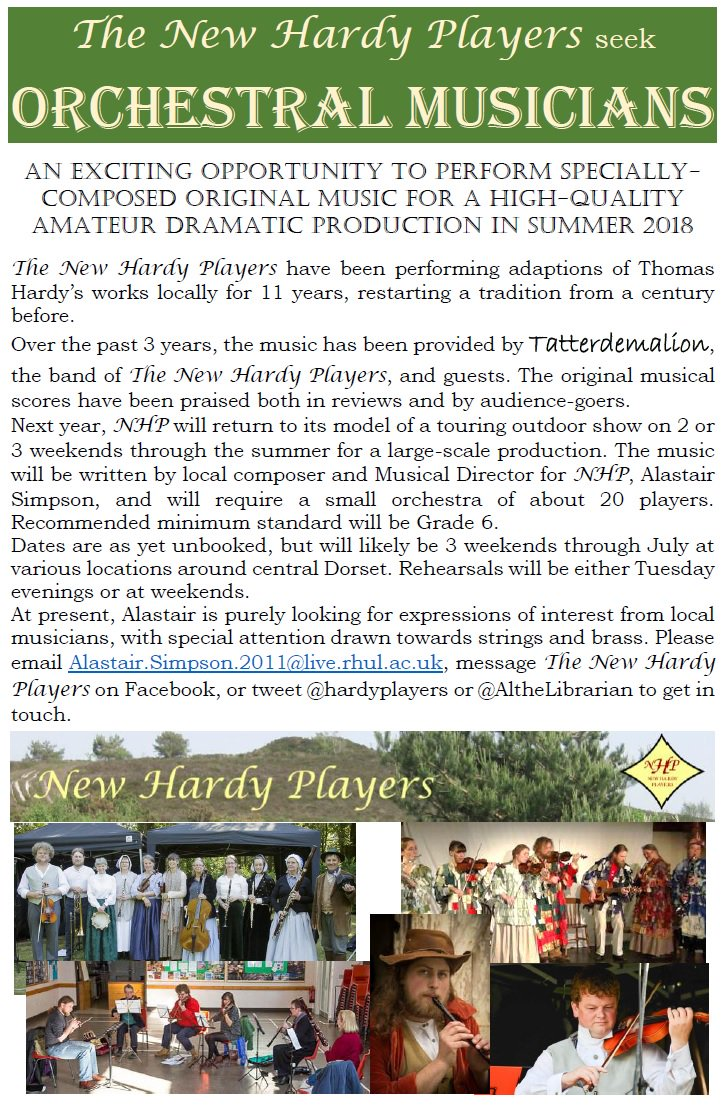 Calling all #orchestral #musicians in #Dorset. I&#39;m putting an #orchestra together for @HardyPlayers production next summer. I&#39;ll be writing the music for a live orchestra at several outdoor shows around the county. Please RT and spread the word. #music #theatre<br>http://pic.twitter.com/lQHgmsaxHT