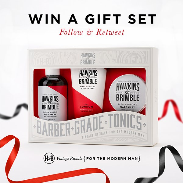 It&#39;s #COMPETITION time! #FOLLOW &amp; #RETWEET to #WIN a Hawkins and Brimble Gift Set! Extra entries:   http:// bit.ly/2lswU0i  &nbsp;    Ends: 27/11/17.<br>http://pic.twitter.com/4FrJkSlGAE