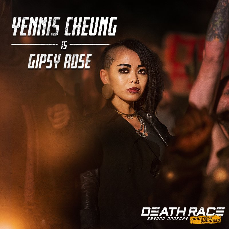 .@YennisCheung stars as Gipsy Rose, one of the kick-ass women in #DeathRace: #BeyondAnarchy 💀. Available on Blu-ray, DVD and Digital 1/30. https://t.co/zHM3CVB7Do