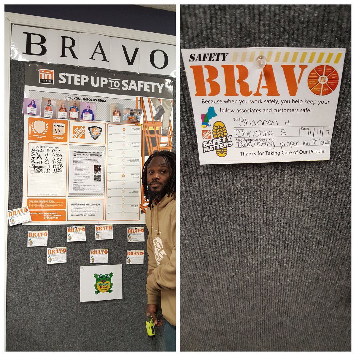 New #SafetyBravo is up let the Recognitions begin #SafetyFirst #StepUpToSafety #THEDEEN is committed @ryan3040 safe environment for customers and associates alike @b_mungul Shannon #InfocusCaptain first on recognized by a fellow leader Christina<br>http://pic.twitter.com/WooKf5j2K9 &ndash; à The Home Depot