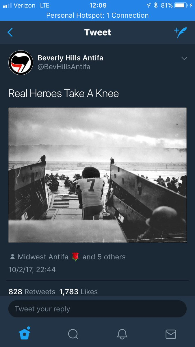 Antifa thinks this photo shows Kaepernick's strength? This photo actually shows how weak he really is. CLEARLY he is gutless and un-American as in this picture he stays in the boat watch Americans die for there country while he just watches. #ConsFront #MAGA #TakeAStand <br>http://pic.twitter.com/7RSXuUaqyu
