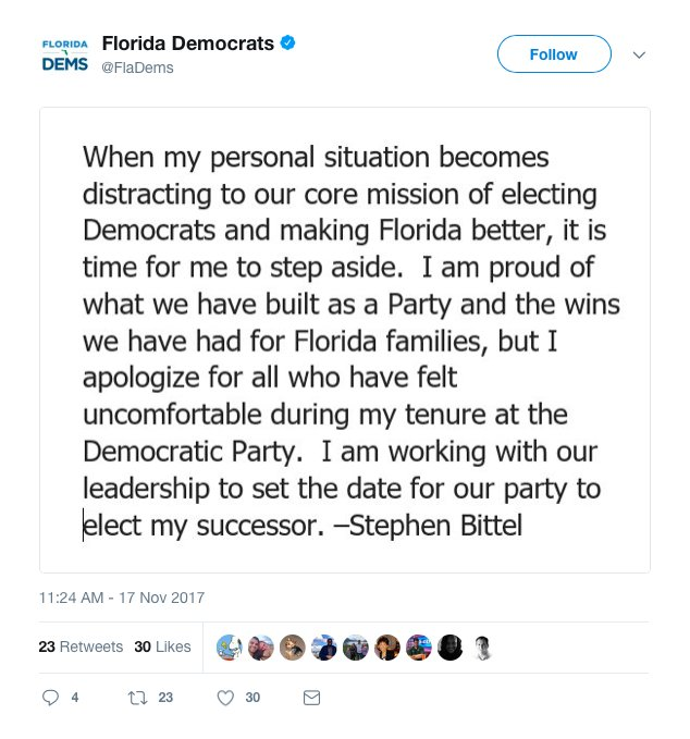 #BREAKING: Florida Democratic Party chairman resigns over report he made women &quot;uncomfortable&quot;  http:// washex.am/2AYLhxa  &nbsp;  <br>http://pic.twitter.com/pPpcm9GGPm