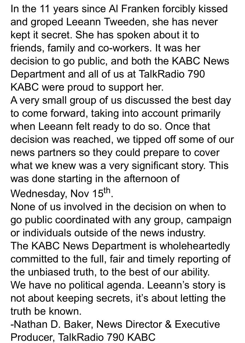 KABC Statement Regarding Claims of Coordination with Roger Stone: