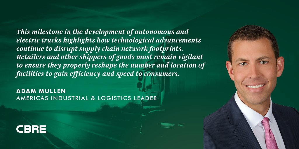 Read @CBREResearch&#39;s viewpoint on how electric and autonomous trucks, like the prototype unveiled this week, will reshape #supplychain real estate:  http://www. cbre.us/Real-Estate-Se rvices/Industry-Solutions/Industrial-and-Logistics/Autonomous-Trucking?utm_source=social&amp;utm_medium=organic &nbsp; …  #warehouses<br>http://pic.twitter.com/A89S0gsihl
