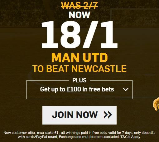 New #Betfair customers get 18/1 #MUFC to beat #NUFC max bet £1 and winnings paid as #freebet PLUS get up to £100 in #freebets #MANUTD #EPL #PremierLeague #bookiebashing  http:// bit.ly/2zIJkao  &nbsp;  <br>http://pic.twitter.com/EKlwGRXrqR