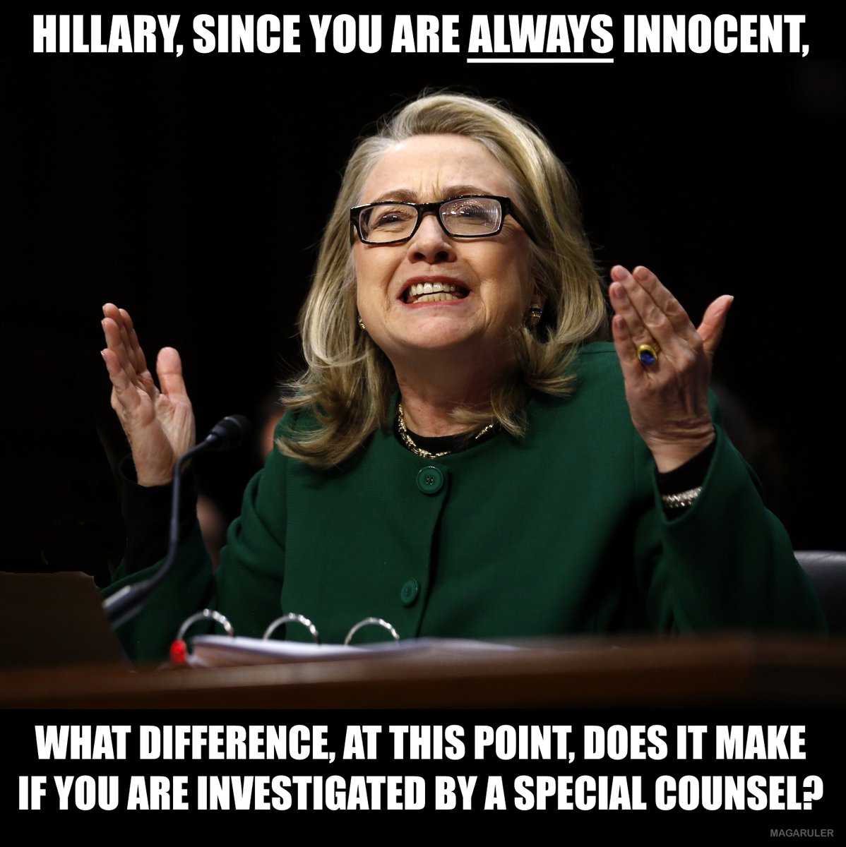 Hillary, since you are ALWAYS innocent, what difference at this point does it make if you are investigated?  #Hillary #HillaryClinton  #LockHerUp<br>http://pic.twitter.com/HedWbaO81j