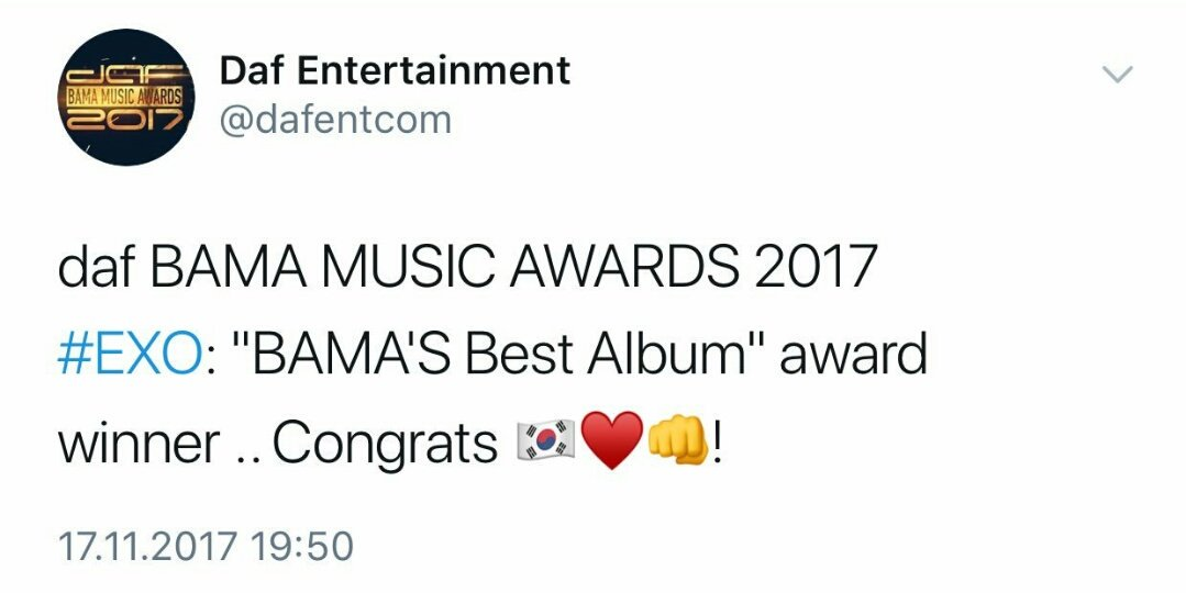 Congratulations #EXO and also those #EXOL&#39;s who voted despite being busy and voting in the other awards, I love my fam and my beloved kings, let&#39;s move on!!! #DafBama2017_EXO @weareoneEXO #EXOL9VOTESCHALLENGE #EXOL_Push_To_1MGap #MAMA_for_EXO #엑소 #KoKoBop<br>http://pic.twitter.com/vVQuZBcGMz