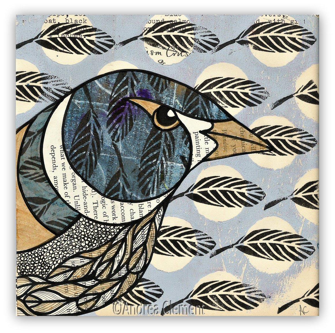 A little birdie... #bird #mixedmedia #birdportrait #portraitnovember #pattern #collage #mixedmediaart #decorativebird<br>http://pic.twitter.com/6tkHI8ZfEI