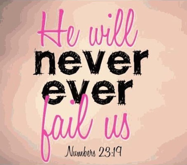 He will  Never Ever  Fail us. Numbers 23:19 #Faith #Trust #Hope  #Jesus #Holybible<br>http://pic.twitter.com/HHKOvBqpZ8