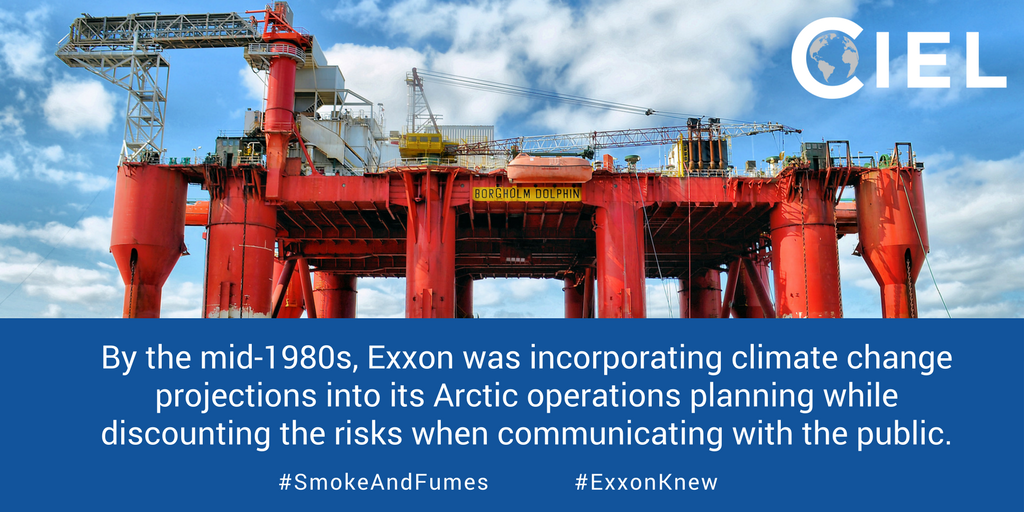 By 1980s, Exxon &amp; Shell using #climatechange projections in own operational planning #SmokeandFumes  http://www. ciel.org/smokeandfumes  &nbsp;   #ExxonKnew #ShellKnew<br>http://pic.twitter.com/yXIm07iCwp