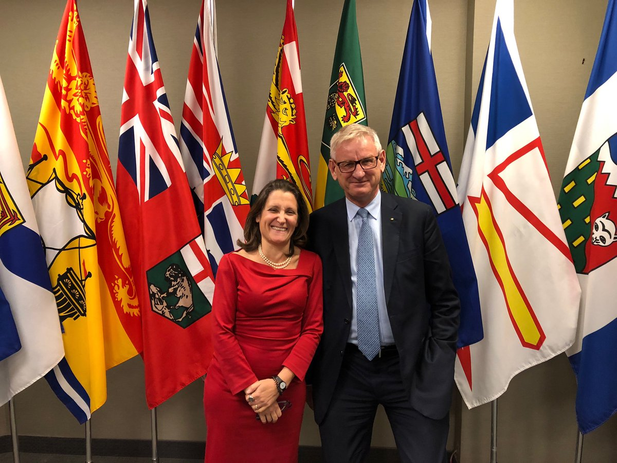 Great to assess the state of the world with friend and Canada FM @cafreeland in Toronto today.