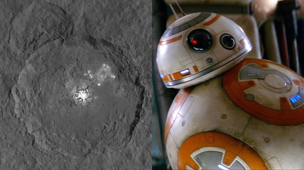 How did no one notice a crater on Ceres looks exactly like #BB-8 from #StarWars?! https://t.co/rgs366GY6j https://t.co/uZ80d6vlkC