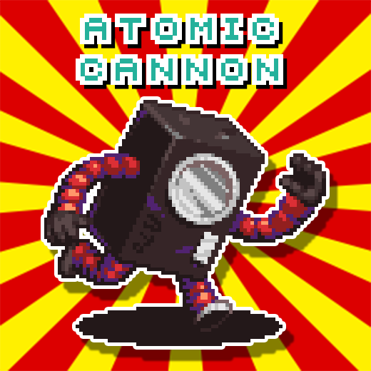It&#39;s that time.... Dun dun DUNNNN!!!! It&#39;s Atomic Cannon!!! Oldschool @KaijuBigBattel fans will definitely remember this nuclear menace! #pixelart #gamedev #indiedev #indiegame #game #rpg #jrpg @bobsurlaw<br>http://pic.twitter.com/syXjRbVXXf