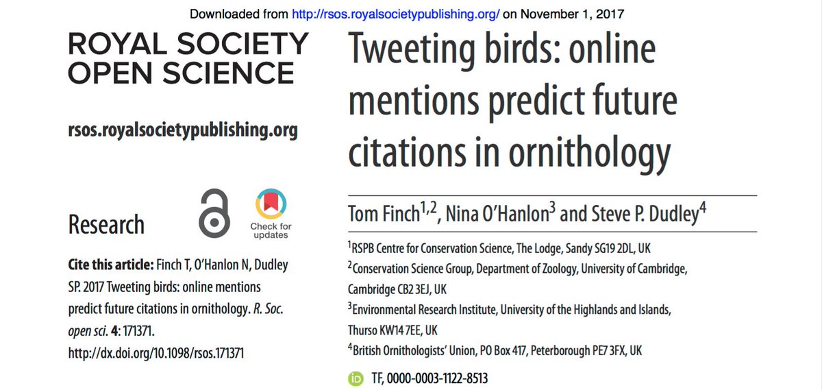 My most recent paper with @TomFinch89 and @Nina_Ohanlon looks at how online mentions predict future citations in #ornithology  http:// ow.ly/AxSC30gCMew  &nbsp;   in @RSocPublishing #OpenScience #altmetrics #scicomm #SciParty <br>http://pic.twitter.com/g347CqwQ95