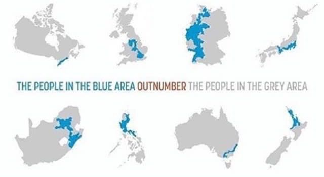 Blue area outnumber population of grey area in: #Canada #UK  #Germany #Japan #SouthAfrica #Philippines #Australia #NewZealand  Follow me for more maps  #map #world #country #population #cartography #geography #earth #globe #people #planet #history #economy #density<br>http://pic.twitter.com/44wAy633oV