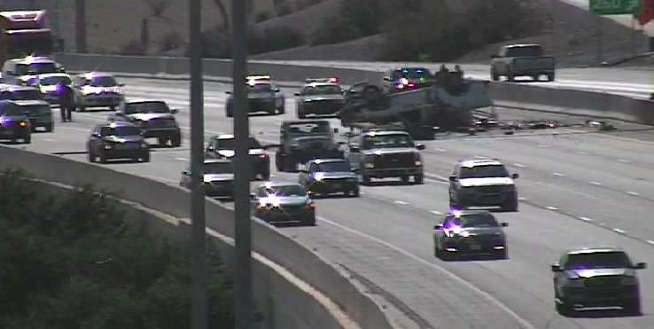 #Tucson I-10 West at 29nd Street, a rollover crash is blocking the left three lanes where I-10, I-19 merge..