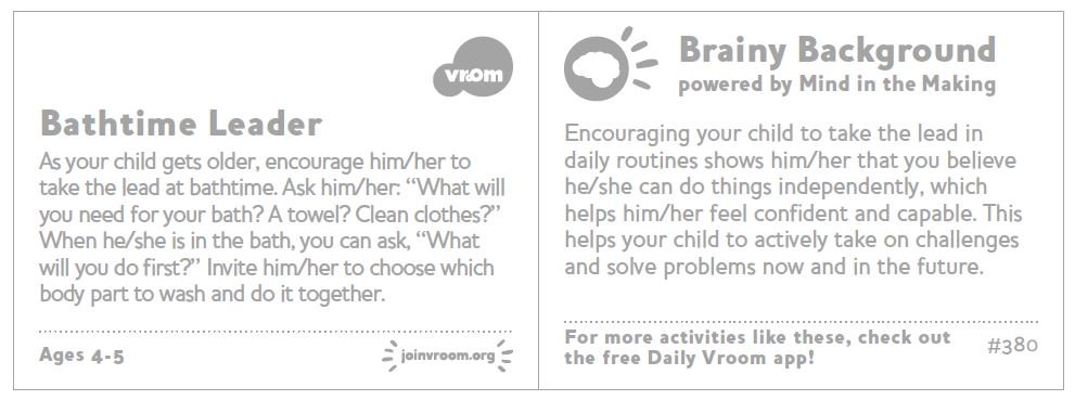 Use this #VroomTip during bath time. When you encourage your child to take the lead you&#39;re showing them they can do things independently. <br>http://pic.twitter.com/MTrb6OhpUv