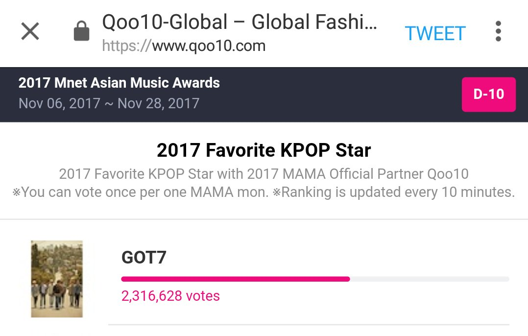 Great work IGOT7. let&#39;s keep leading and give GOT7 this special award on mama 2017 ceremony. #TeamGOT7   <br>http://pic.twitter.com/6UNL3aX5F0