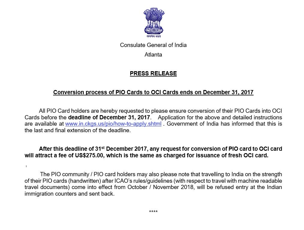 India In Atlanta On Twitter Conversion Process Of Pio Cards To Oci