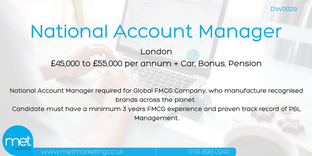Global #FMCG Company based in #London looking for National Account Manager to join driven sales team:  http://www. metmarketing.co.uk/marketing-jobs /details/dw0029 &nbsp; …  #NAM  #NAE<br>http://pic.twitter.com/CEbKHPgnxS