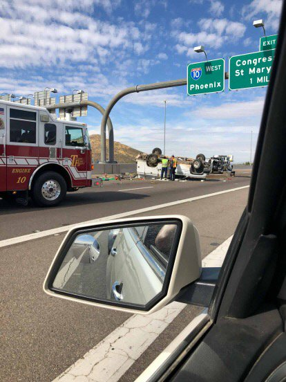 UPDATE: All lanes of I-10 westbound open again in #Tucson following rollover crash.