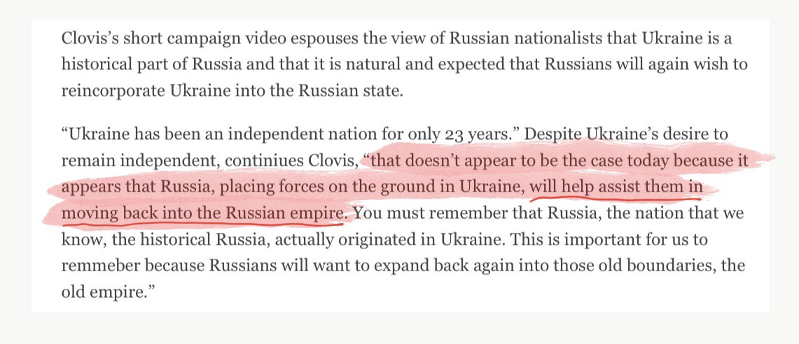 """In 2014 video Sam Clovis, who choose Papadopoulos and Page, explained that Russian troops were in Ukraine to """"assist them in moving back into the Russian empire."""" https://t.co/Jzm1WhPl7S"""