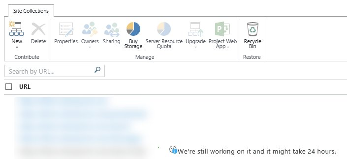 Looks like it&#39;s Friday.. time to get a few beers while #SharePoint creates a new Site Collection. #WorkingOnIt <br>http://pic.twitter.com/XQRhOyIVxX