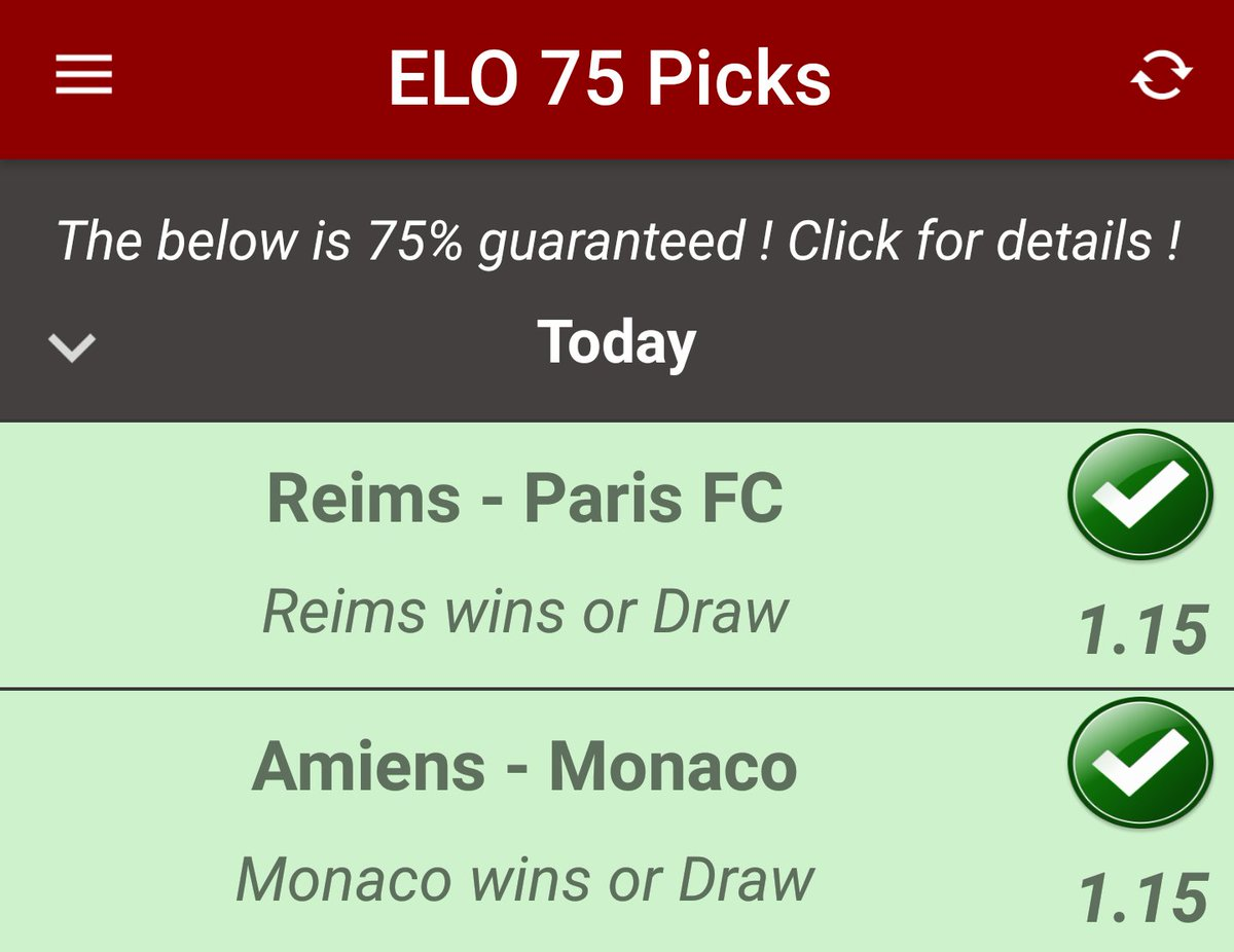 2/2 tonight !  7/7 this week !  Get the ELO app tonight:  https:// goo.gl/s1VkxA  &nbsp;   #reims #parisfc #amiens #monaco #asmonaco @StadeDeReims @ParisFC @ASMonacoUK @AS_Monaco @AmiensSC<br>http://pic.twitter.com/zh1EXbyJgp