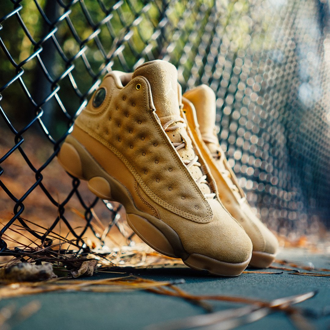 The Air #Jordan Retro 13 &#39;Wheat&#39; drops in-stores &amp; online 11/21. Shop|  http:// bit.ly/2hFPReL  &nbsp;  <br>http://pic.twitter.com/C34vjKW6BD