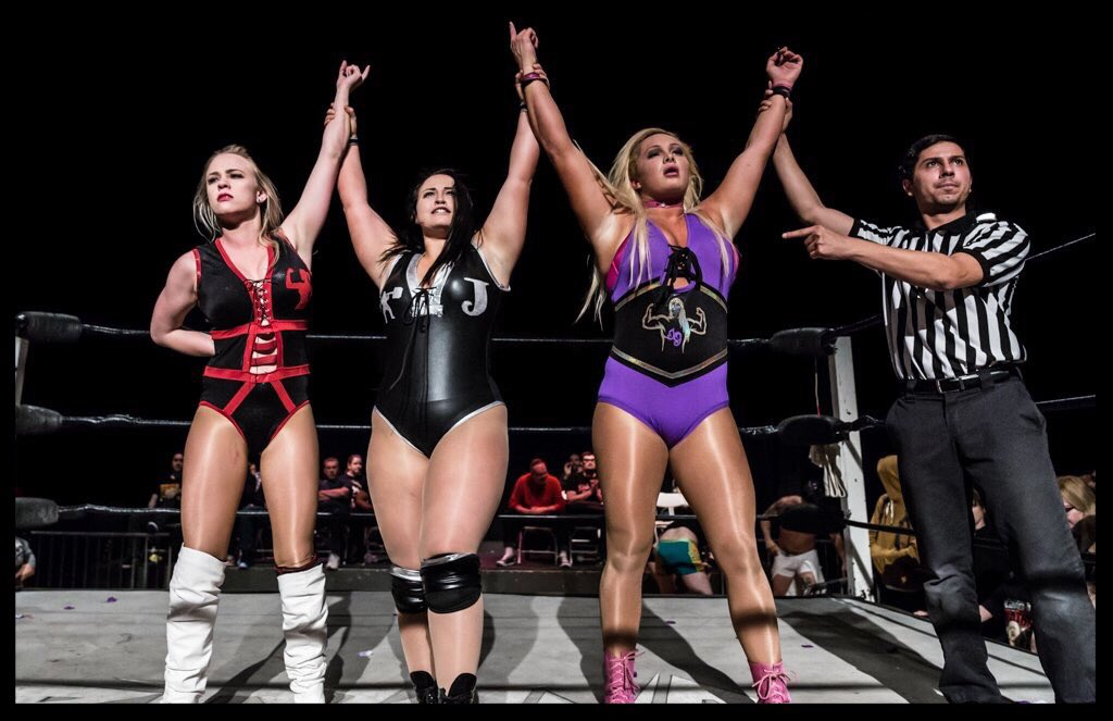 Ladies standing tall at #beyond #wrestling ! Great pic by @JonWasherPhotos ! @thePenelopeFord @JordynneGrace @TheMariaManic #WWR<br>http://pic.twitter.com/m0aQprQK2p