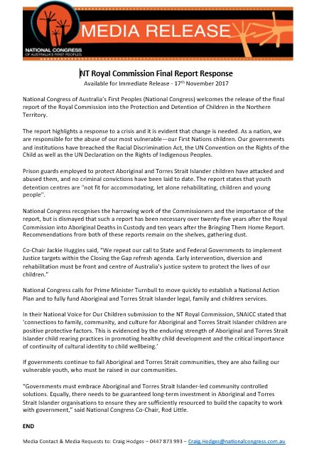 #CongressMob - #NTRoyalCommission Final Report Response  #NTRC #RCNT  &#39;#OurGovts &amp; #institutions have #breached the #RacialDiscriminationAct, #UN #ConventionOnRightsOfChild as well as UN #DeclarationOnRightsOfIndigenousPeoples #UNDRIP&#39; #NationalCongressOfAustraliasFirstPeoples MR<br>http://pic.twitter.com/RV5hUtNmAY