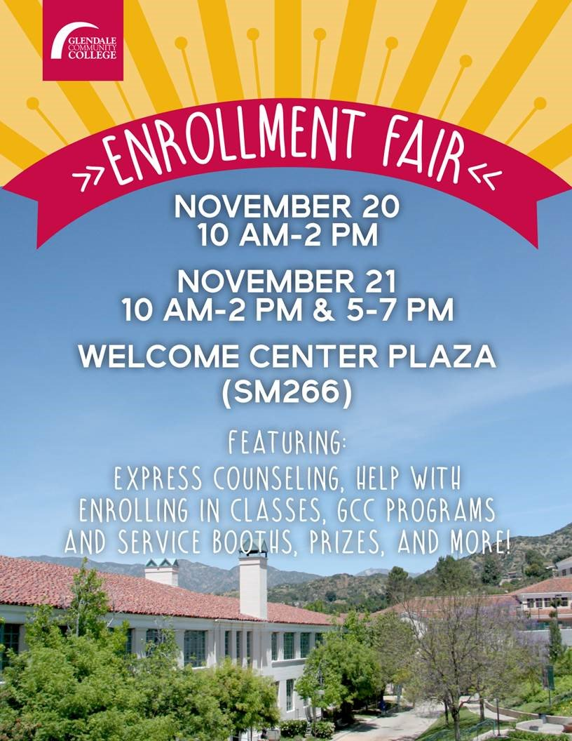 The #Enrollment Fair will be held on Monday, Nov. 20 and Tuesday, Nov. 21 on the Welcome Center Plaza from 10 a.m. to 2 p.m. both days and also, from 5 to 7 on Tuesday.  Get help with counseling and registration and get info. on GCC programs and services.  And there are prizes! <br>http://pic.twitter.com/hpxlQXDQ1c