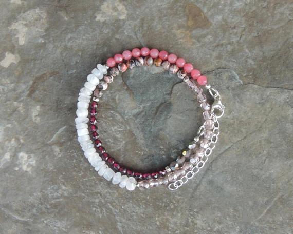 Garnet Bracelet, Pink Bracelet for Women, Summer Boho Bracelet for Her, Summer Wrap Bracelet, Gift Wife Red, Bracelet for Her by lelizabethjewelry  http:// dlvr.it/Q1WrCG  &nbsp;   #etsyclub #etsychaching #epiconetsy <br>http://pic.twitter.com/9jkAqQDUfL