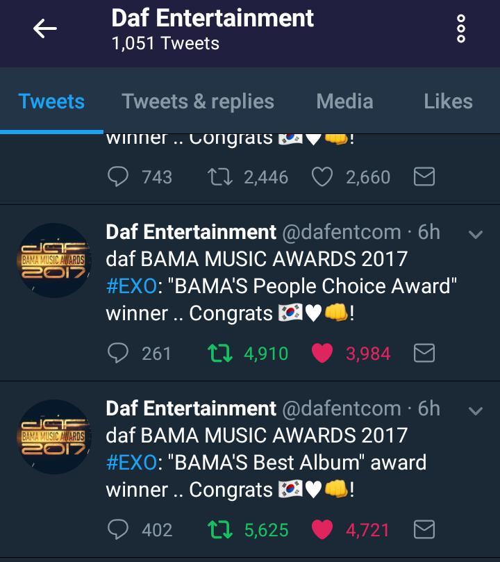 Congratulation @weareoneEXO #EXO #DafBama2017_EXO  <br>http://pic.twitter.com/saalzPnqfV