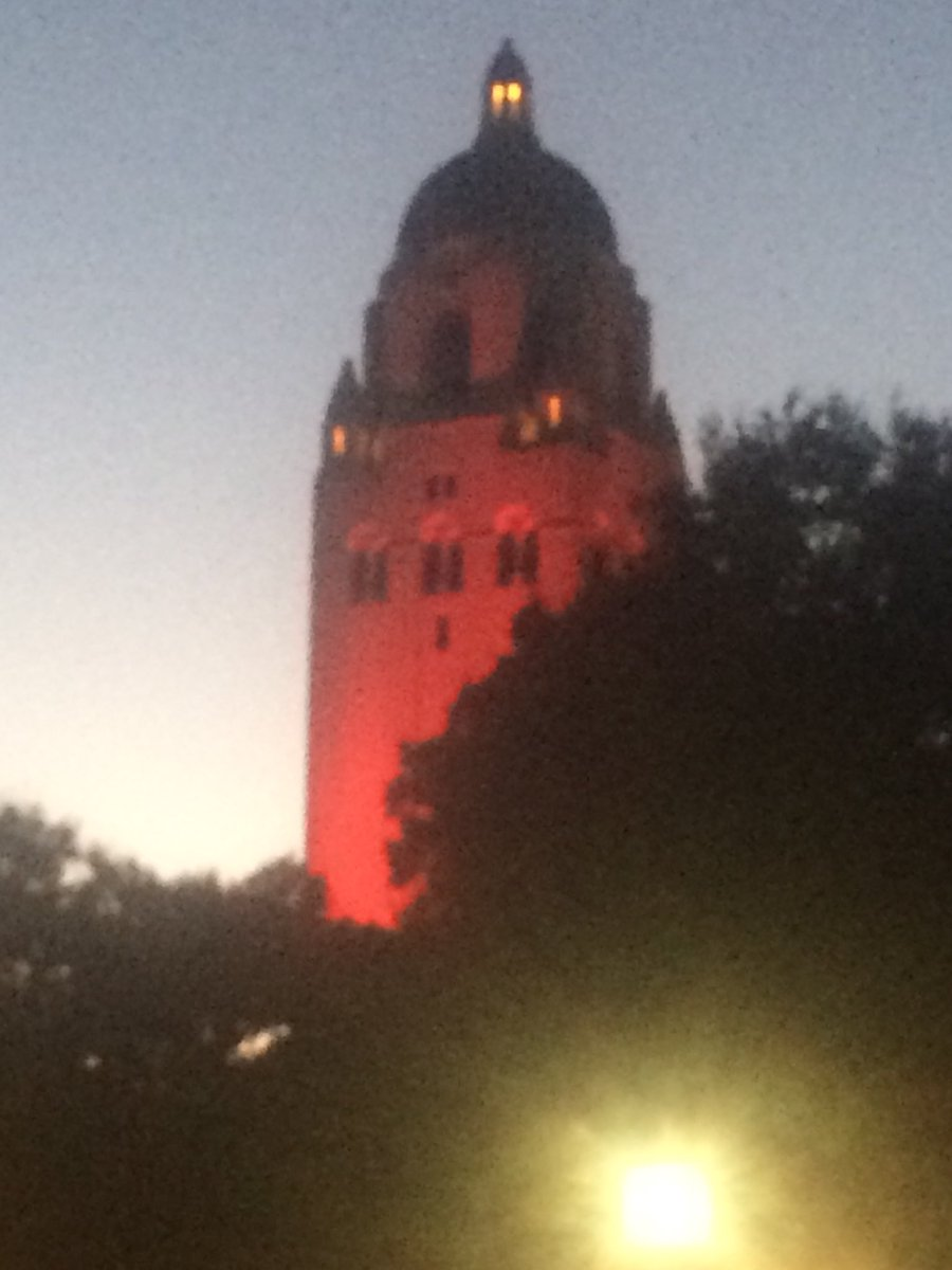 Hoover tower lit up tonight in red to get us all hyped for Big Game tomorrow! #GoStanford #BeatCal !