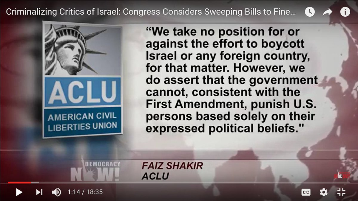 SEE VIDEO: Criminalizing Critics of #Israel: #USCongress Considers Sweeping Bill 2 Fine &amp; Jail #BDS Backers &amp; Protesters Source: https:// youtu.be/1VIRbd2l6UA  &nbsp;  <br>http://pic.twitter.com/Vov8cNqJOy