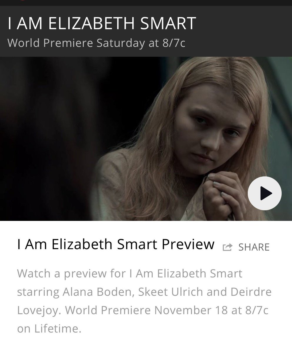 "My movie ""I Am Elizabeth Smart"" premeirs tomorrow, Saturday, November 18, on Lifetime. This year marks the 15th anniversary of my rescue. I narrate and tell my own story that is more relevant today than ever. #survivor #stopsexualviolence #Lifetime"