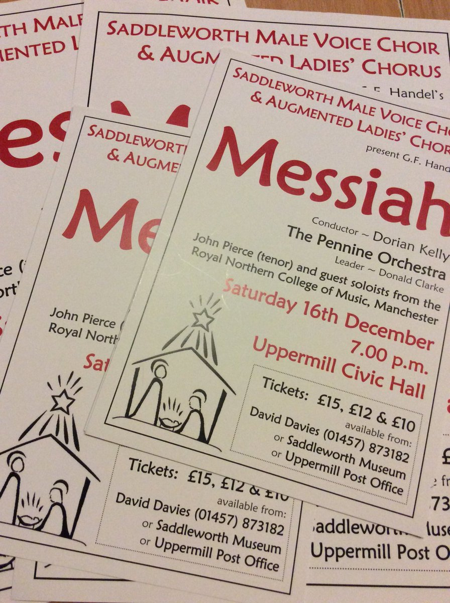 It's that time of year again! #Saddleworth #Messiah with  @johnpiercetenor and @RNCMvoice student soloists and the #Pennine #Orchestra <br>http://pic.twitter.com/BprzEcNVtN