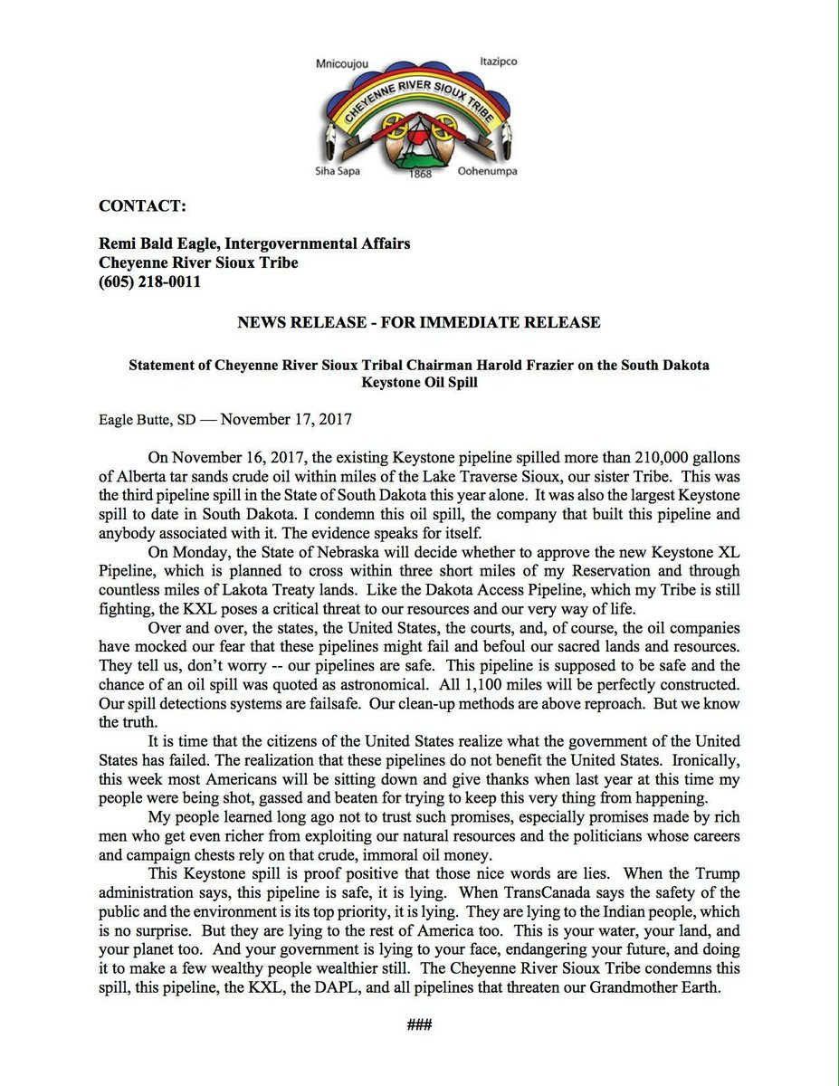 RT @RuthHHopkins: Statement from Cheyenne River Sioux Tribal Chairman Frazier about the Keystone Pipeline oil spill. https://t.co/rLEpOYynyM