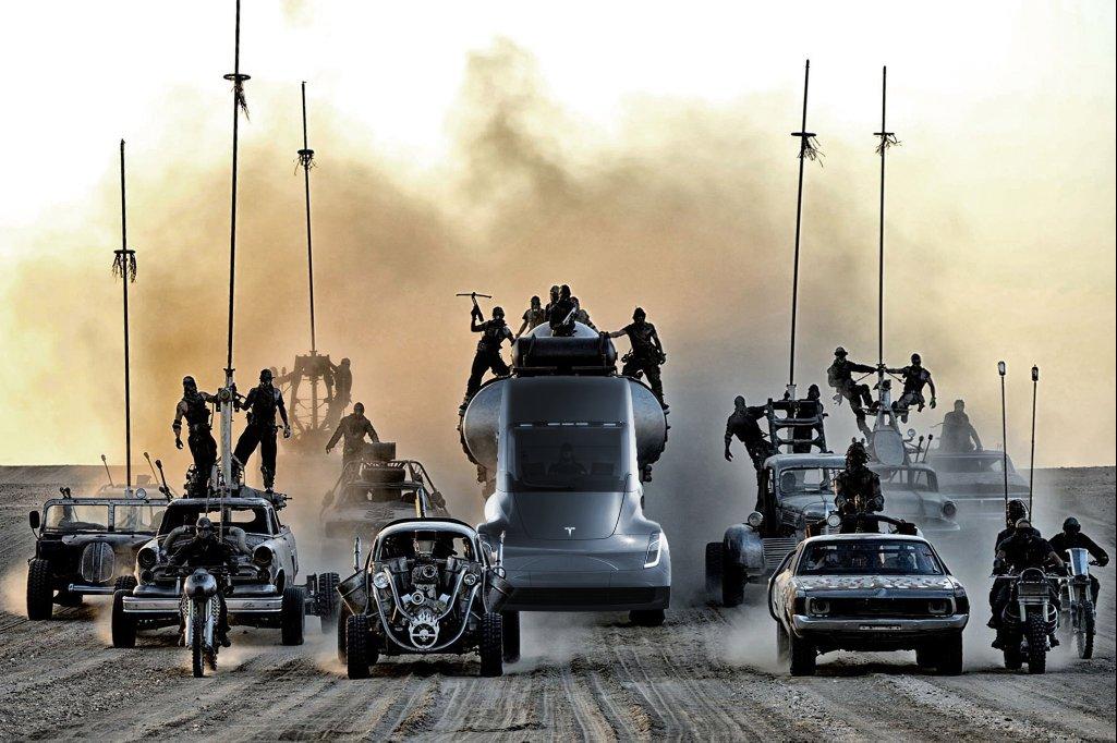 Tesla Semi inmitten der Mad Max Menge