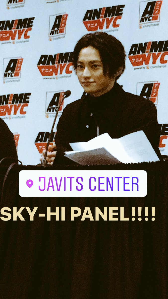 "SKY-HI expressed such depth in his answers and I am even more impressed by him! Please keep being ""the first penguin."" I support you and await your upcoming releases!!!!! #RAGWorld #NY #SKYHI  #SKY_HI #animenyc<br>http://pic.twitter.com/QGmri2u6tT &ndash; à Jacob K. Javits Convention Center"
