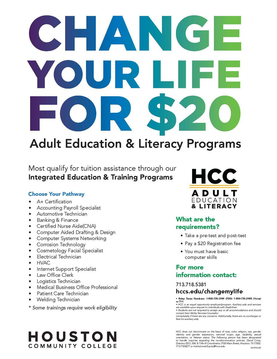 Hcc District On Twitter Hcc Adult Education Offers Classes